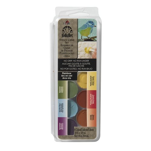 FolkArt ® Dry Brush Stencil Creme Set - Rainbow
