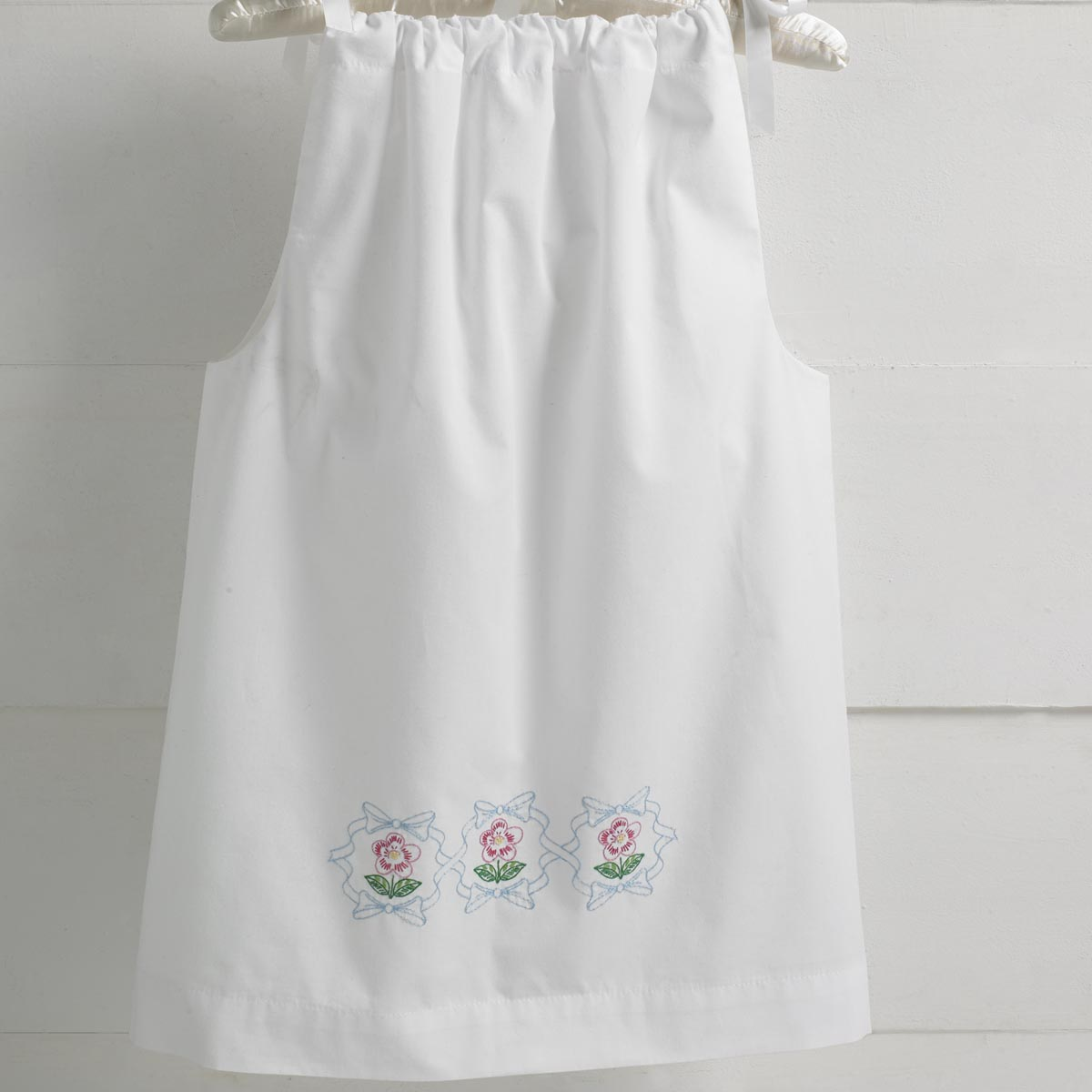 Bucilla ® Stamped Cross Stitch & Embroidery - Pillowcase Dress - Floral Ribbon