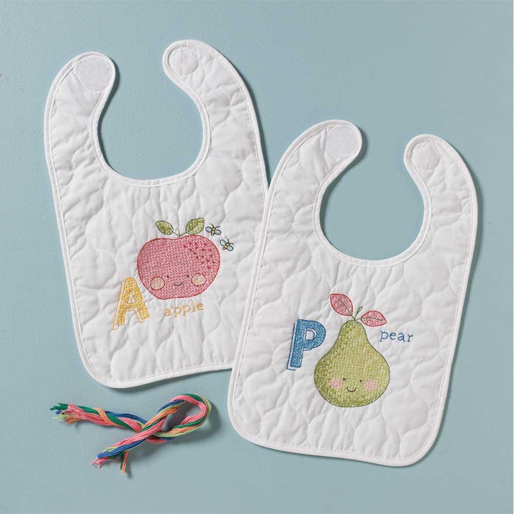 Bucilla ® Baby - Stamped Cross Stitch - Crib Ensembles - ABC Baby - Bib Pair Kit