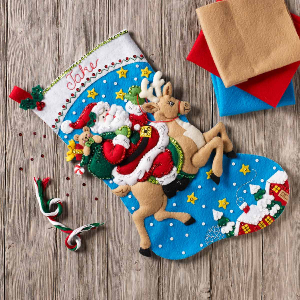 Bucilla ® Seasonal - Felt - Stocking Kits - Reindeer Santa