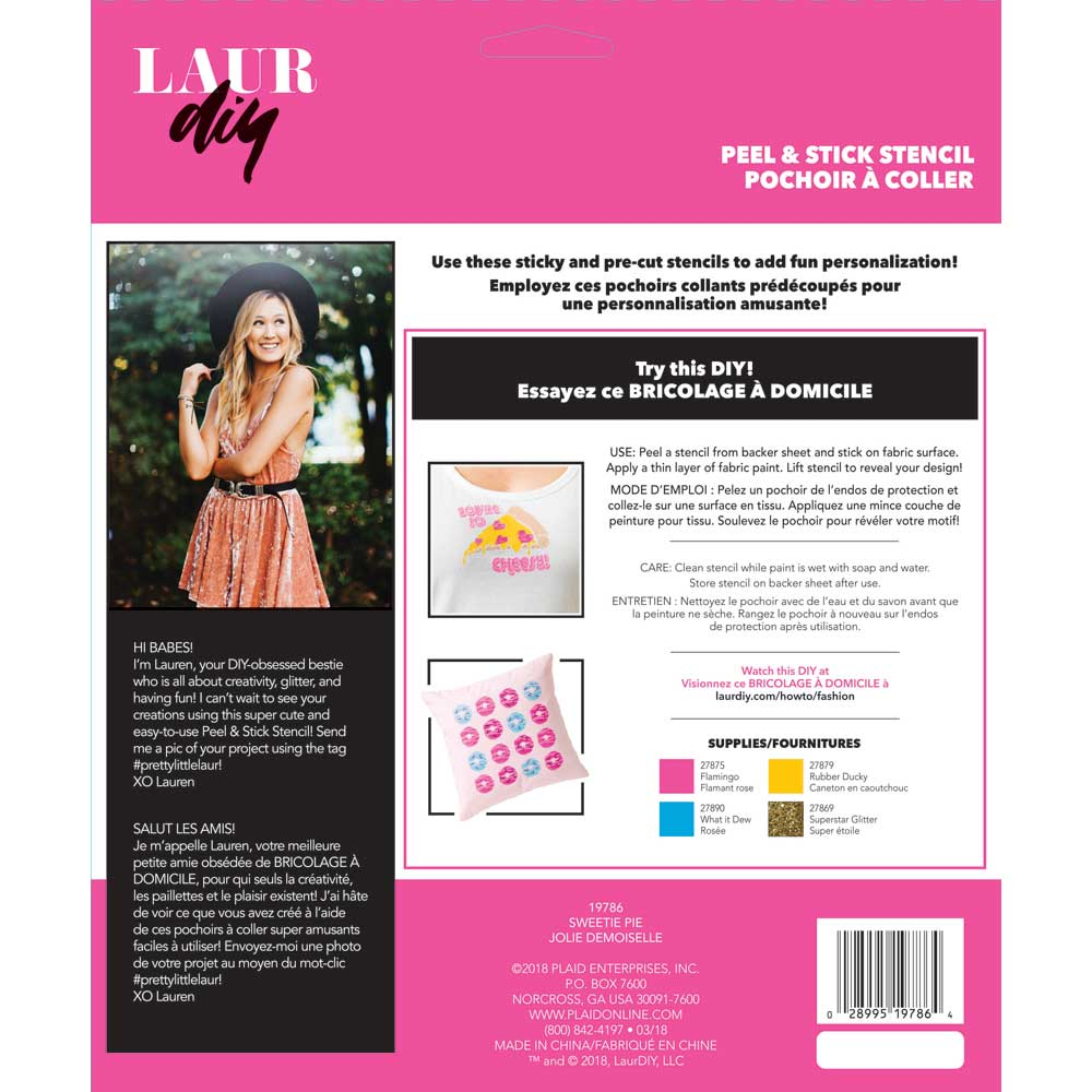 LaurDIY ® Peel & Stick Stencils - Large - Sweetie Pie