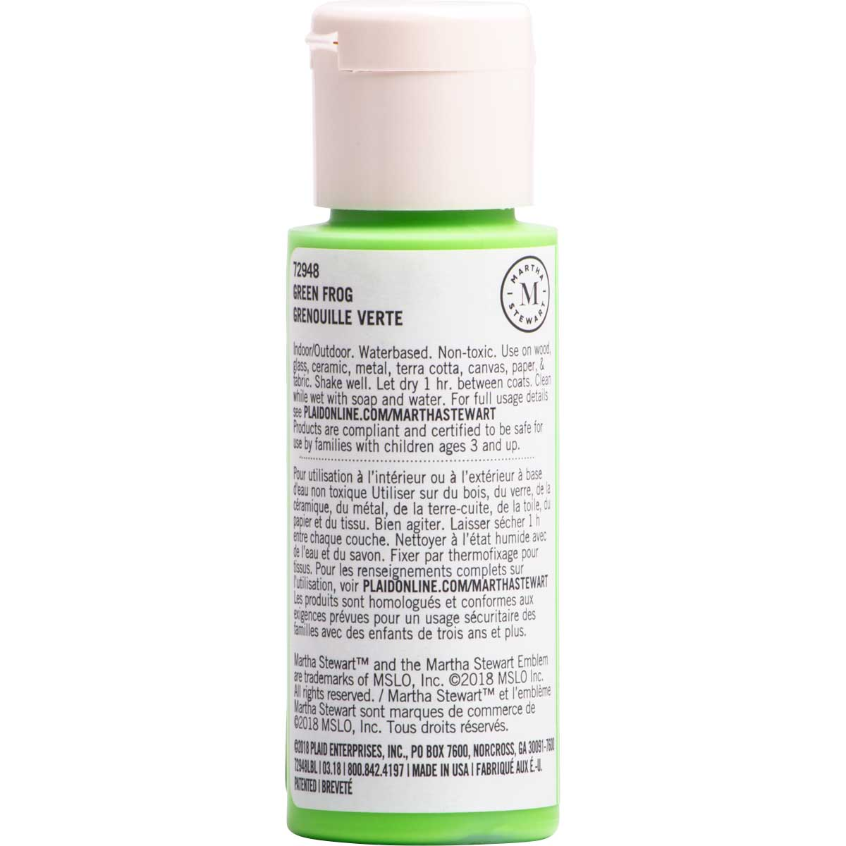 Martha Stewart ® Multi-Surface Neon Acrylic Craft Paint CPSIA - Green Frog, 2 oz.