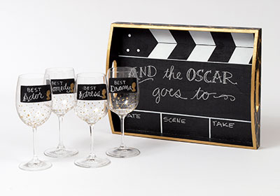 Oscar Party Wine Glasses and Tray