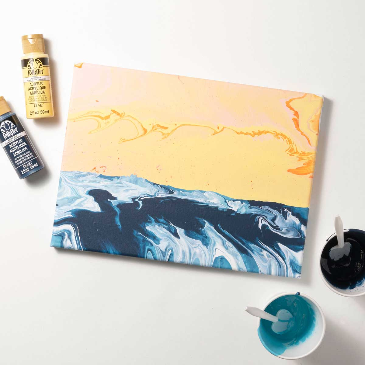 Poured Art Beach Landscape Canvas