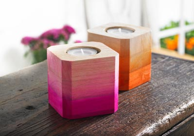 DIY Ombre Wood Block Candlesticks