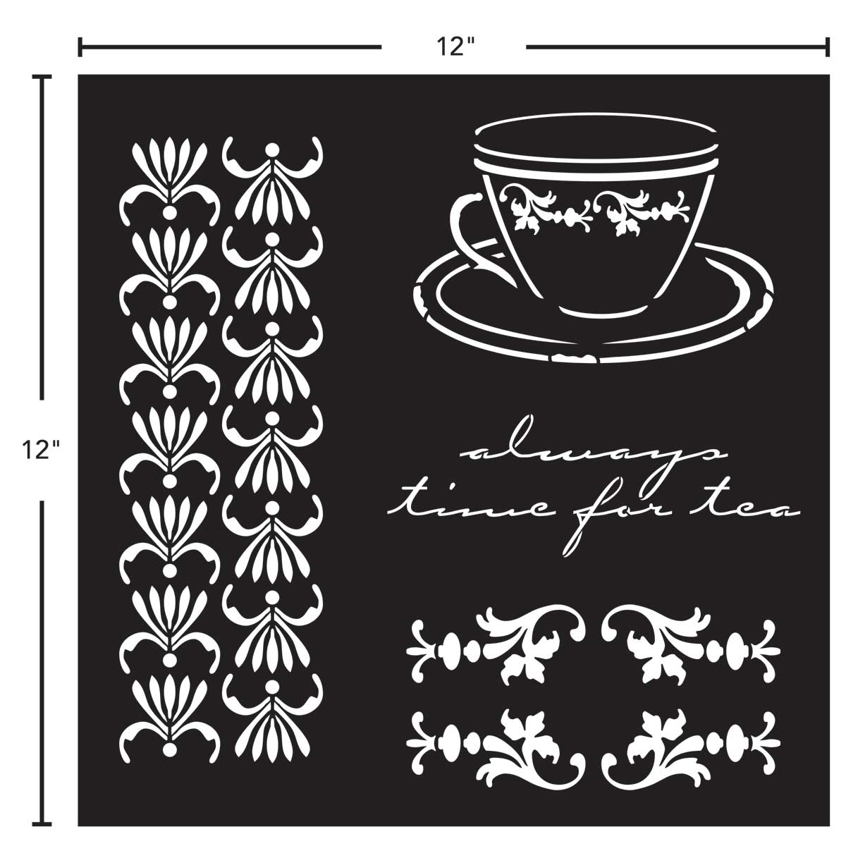 FolkArt ® Painting Stencils - Adhesive Laser - Tea Time - 63265