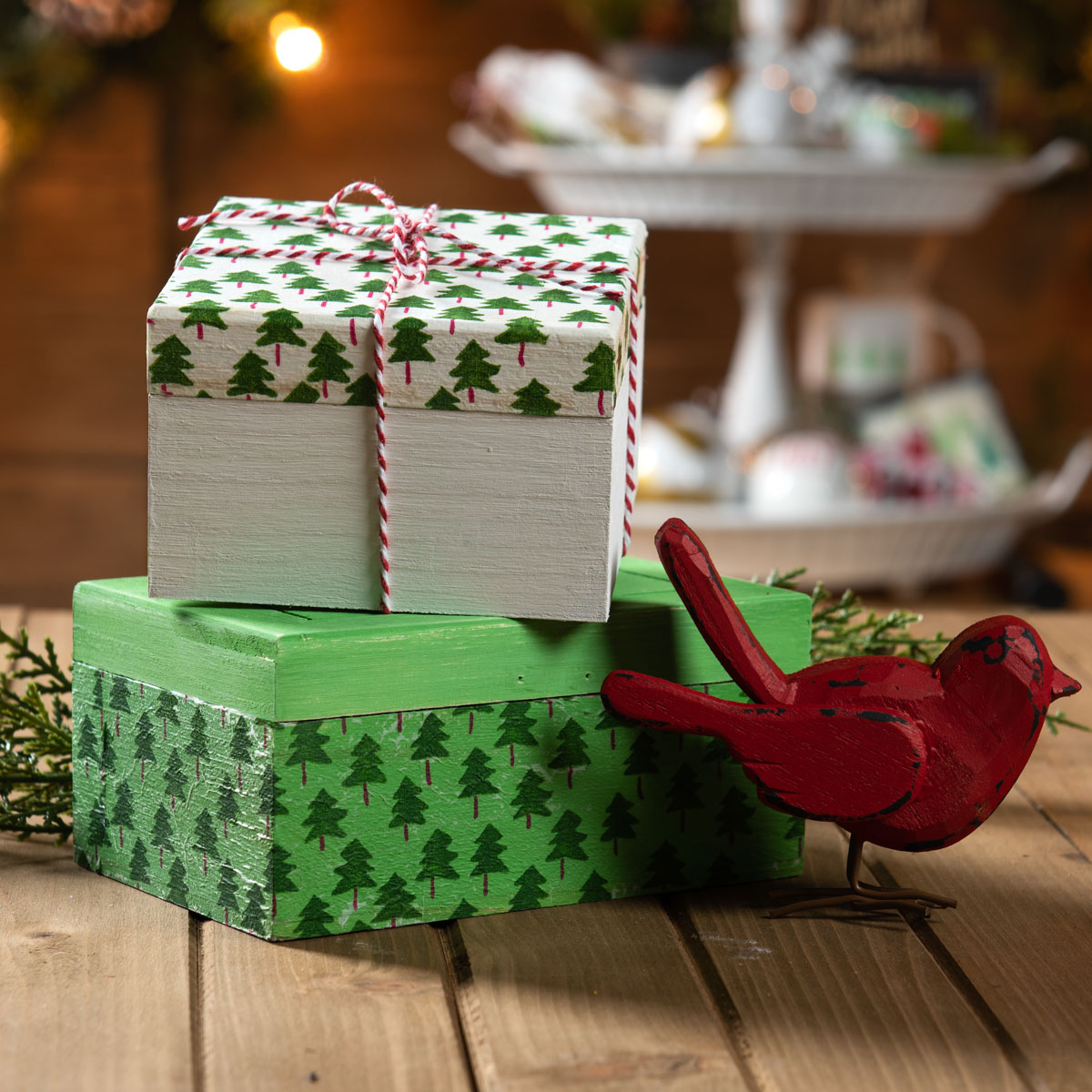 Holiday Tier Centerpiece - Napkin Decoupage Gift Boxes