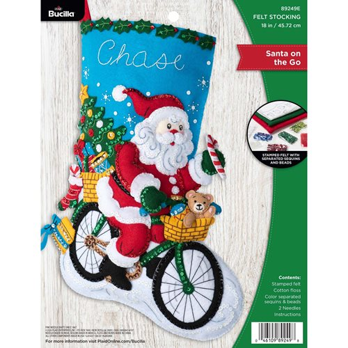 Bucilla ® Seasonal - Felt - Stocking Kits - Santa on the Go - 89249E