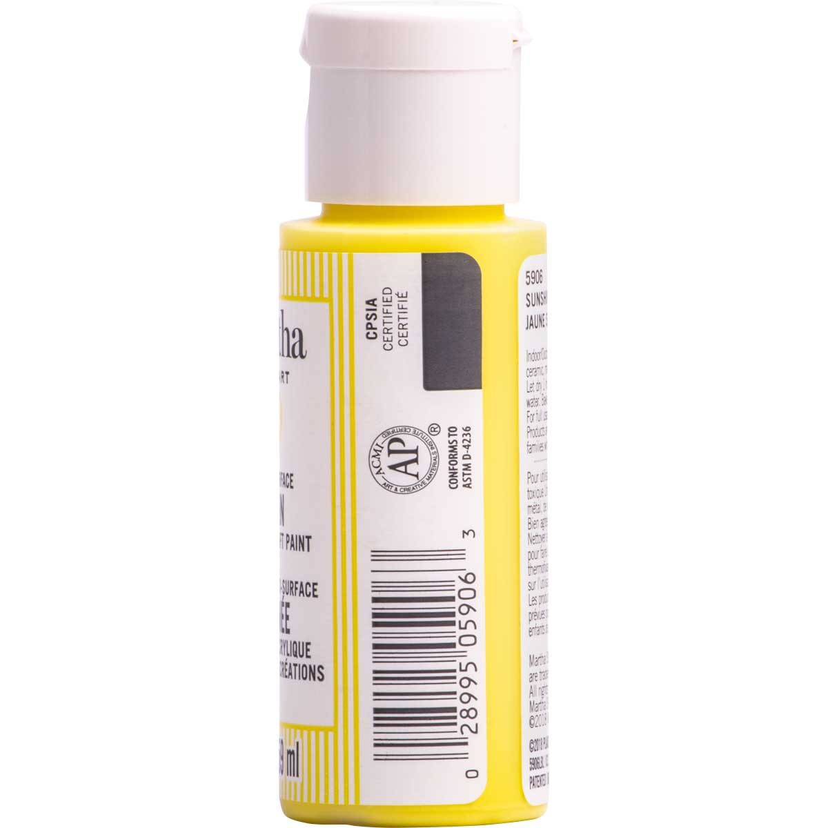 Martha Stewart ® Multi-Surface Satin Acrylic Craft Paint CPSIA - Sunshine Yellow, 2 oz. - 5906
