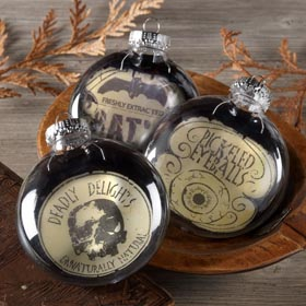 Black and White Halloween Ornaments