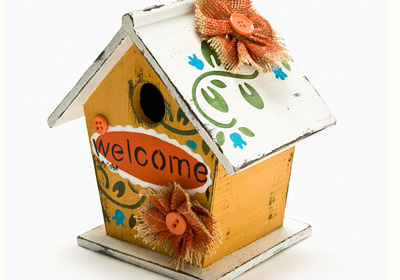 """Welcome"" Cottage Birdhouse"