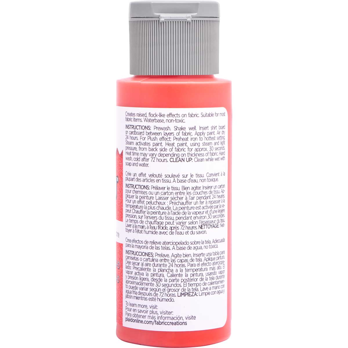 Fabric Creations™ Plush™ 3-D Fabric Paints - Wild Cherry, 2 oz.