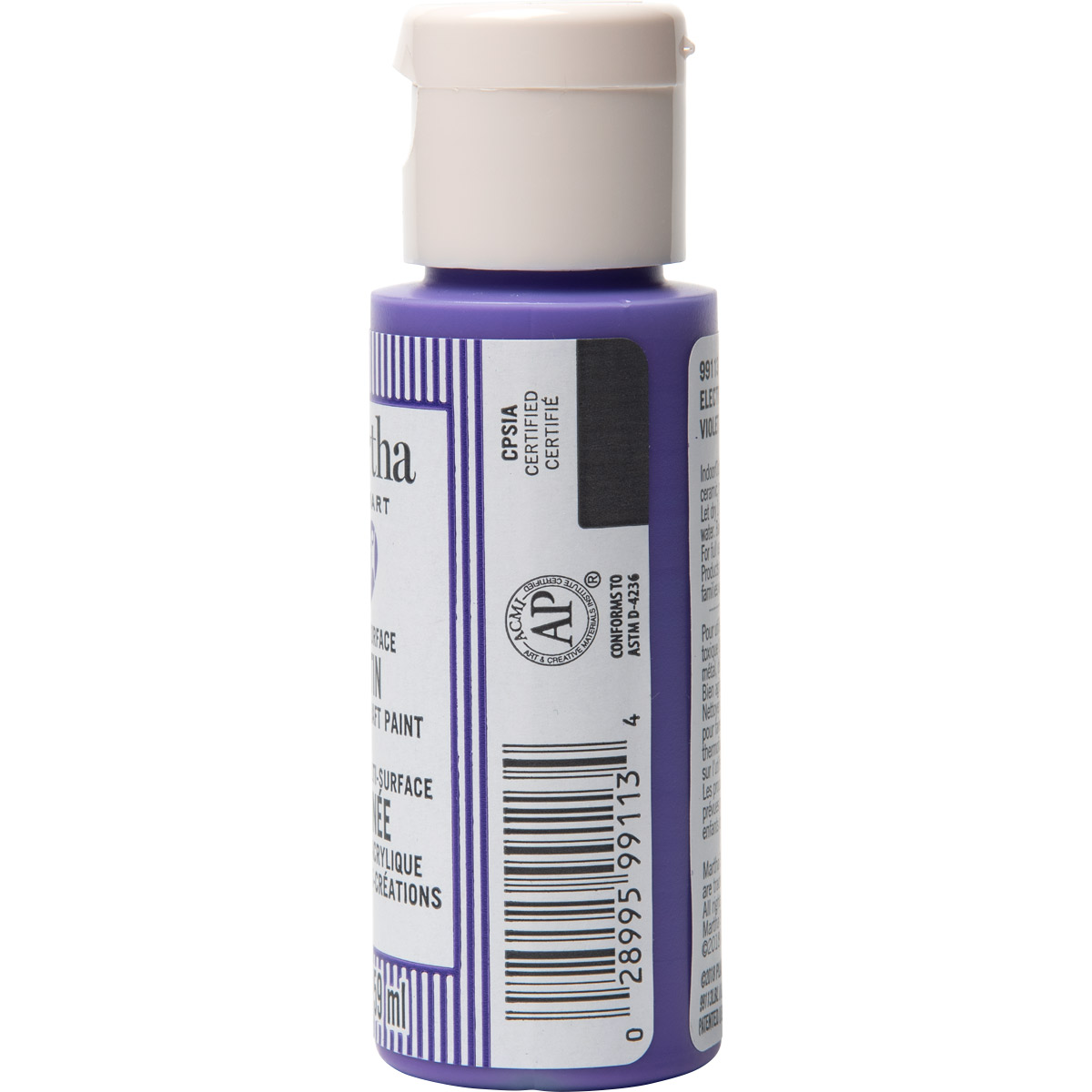 Martha Stewart ® Multi-Surface Satin Acrylic Craft Paint CPSIA - Electric Purple, 2 oz.