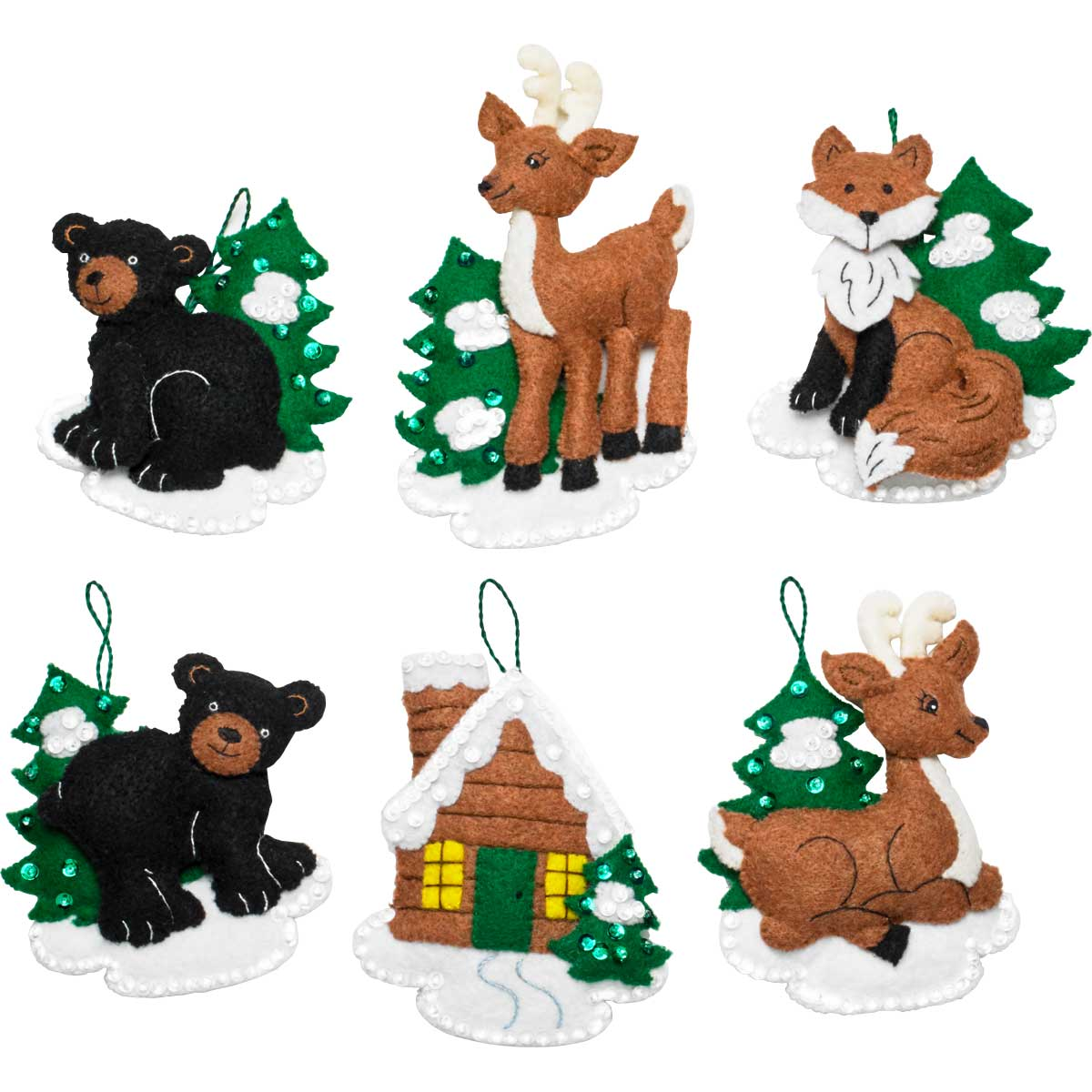 Bucilla ® Seasonal - Felt - Ornament Kits - Santa's Black Bear Cabin - 86947E