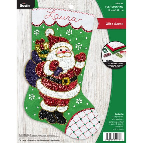 Bucilla ® Seasonal - Felt - Stocking Kits - Glitz Santa - 89073E