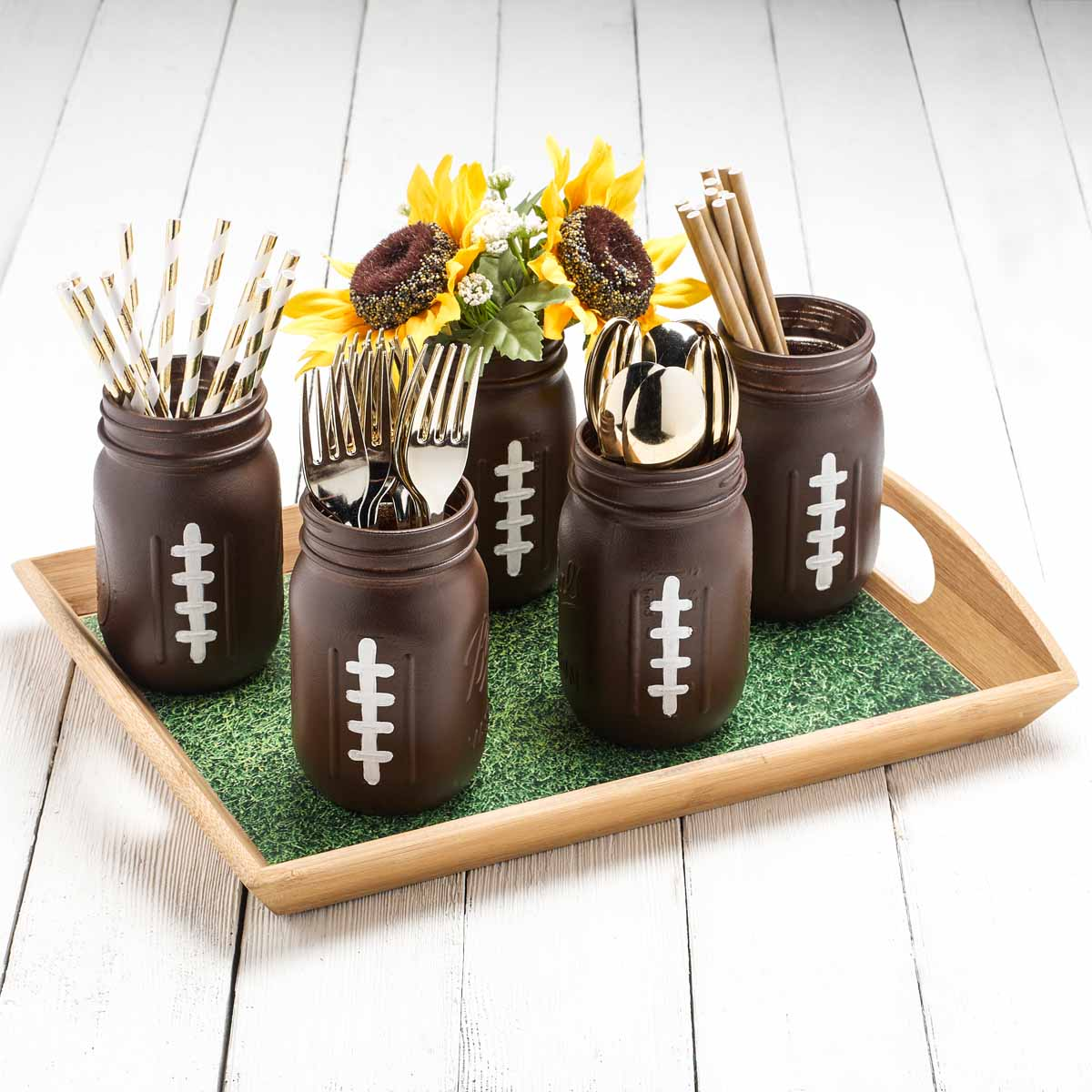 Football Watch Party DIY Mason Jars