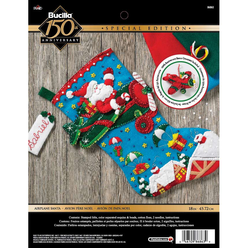 Bucilla ® Seasonal - Felt - Stocking Kits - Airplane Santa