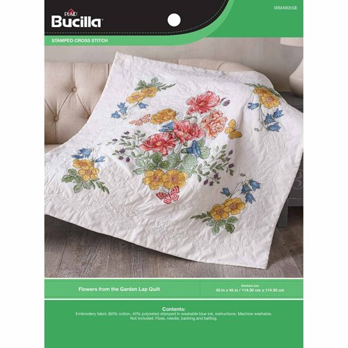Bucilla ® Stamped Cross Stitch - Lap Quilts - Flowers From The Garden - WM49055E