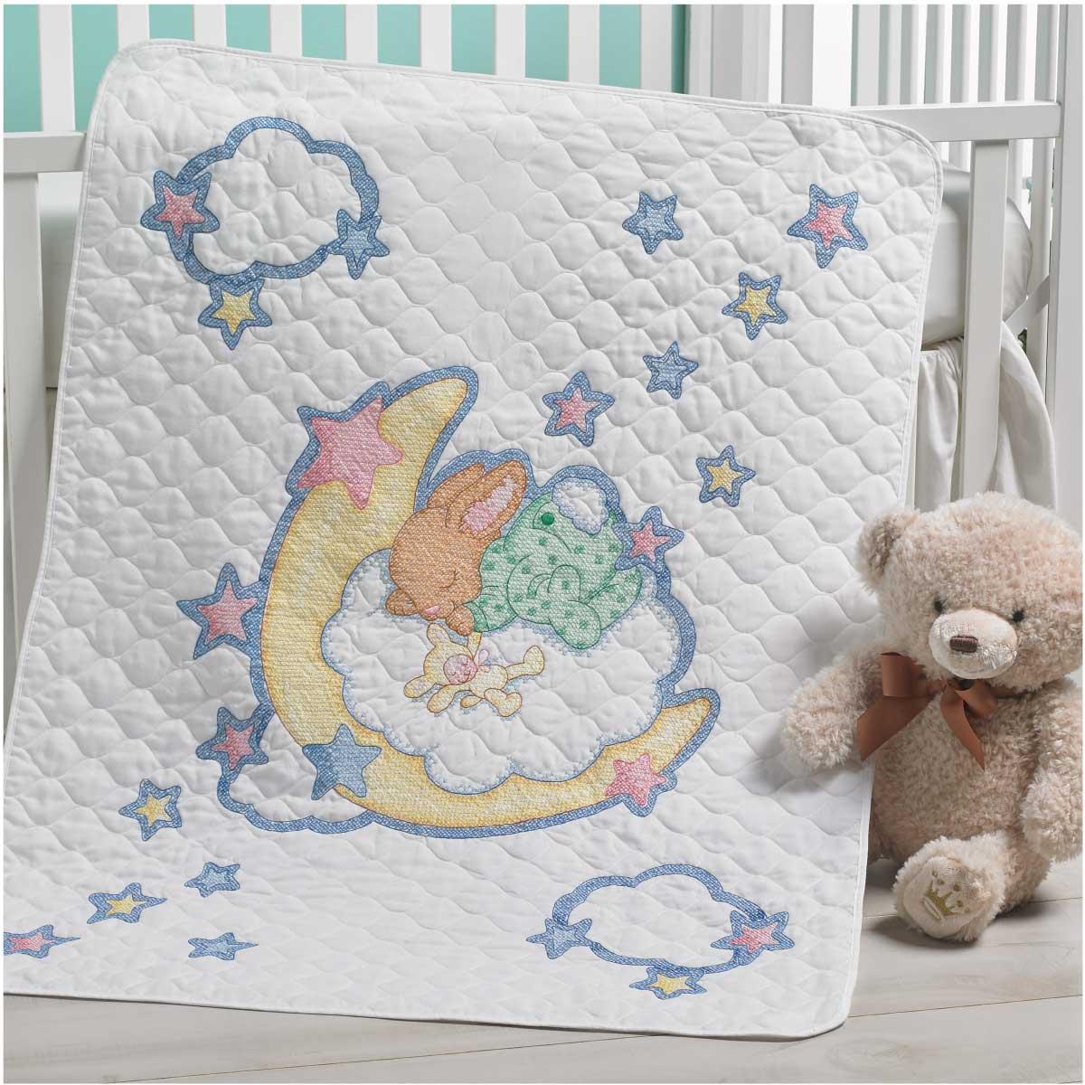 Bucilla ® Baby - Stamped Cross Stitch - Crib Ensembles - Hallmark - Born to Dream - Crib Cover