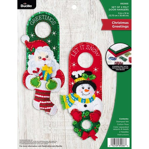 FELT HOME DECOR - CHRISTMAS GREETINGS DOOR HANGERS