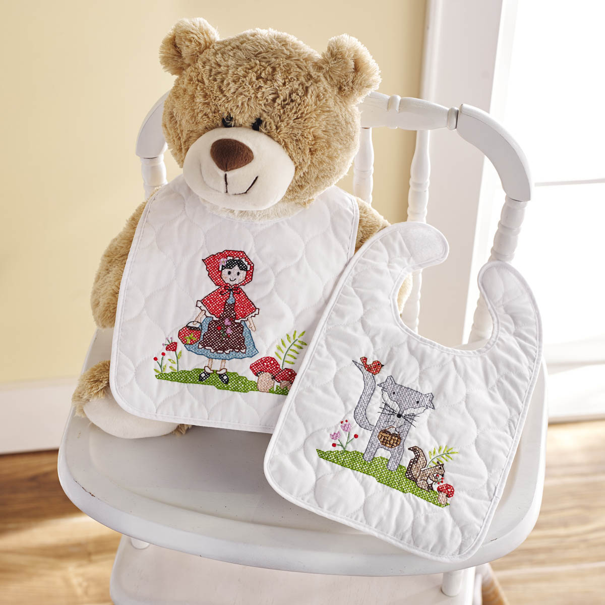 Bucilla ® Baby - Stamped Cross Stitch - Crib Ensembles - Little Red Riding Hood - Bib Pair Kit