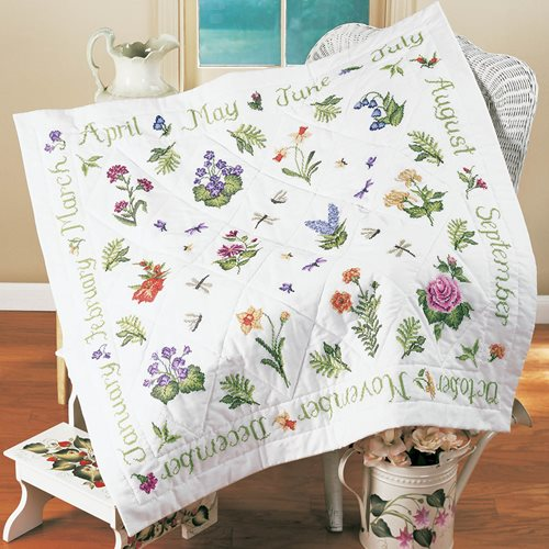 Bucilla ® Special Edition - Stamped Cross Stitch - Lap Quilts - Donna Dewberry - Year of Flowers