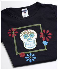 Day of the Dead Skull Flower T-Shirt