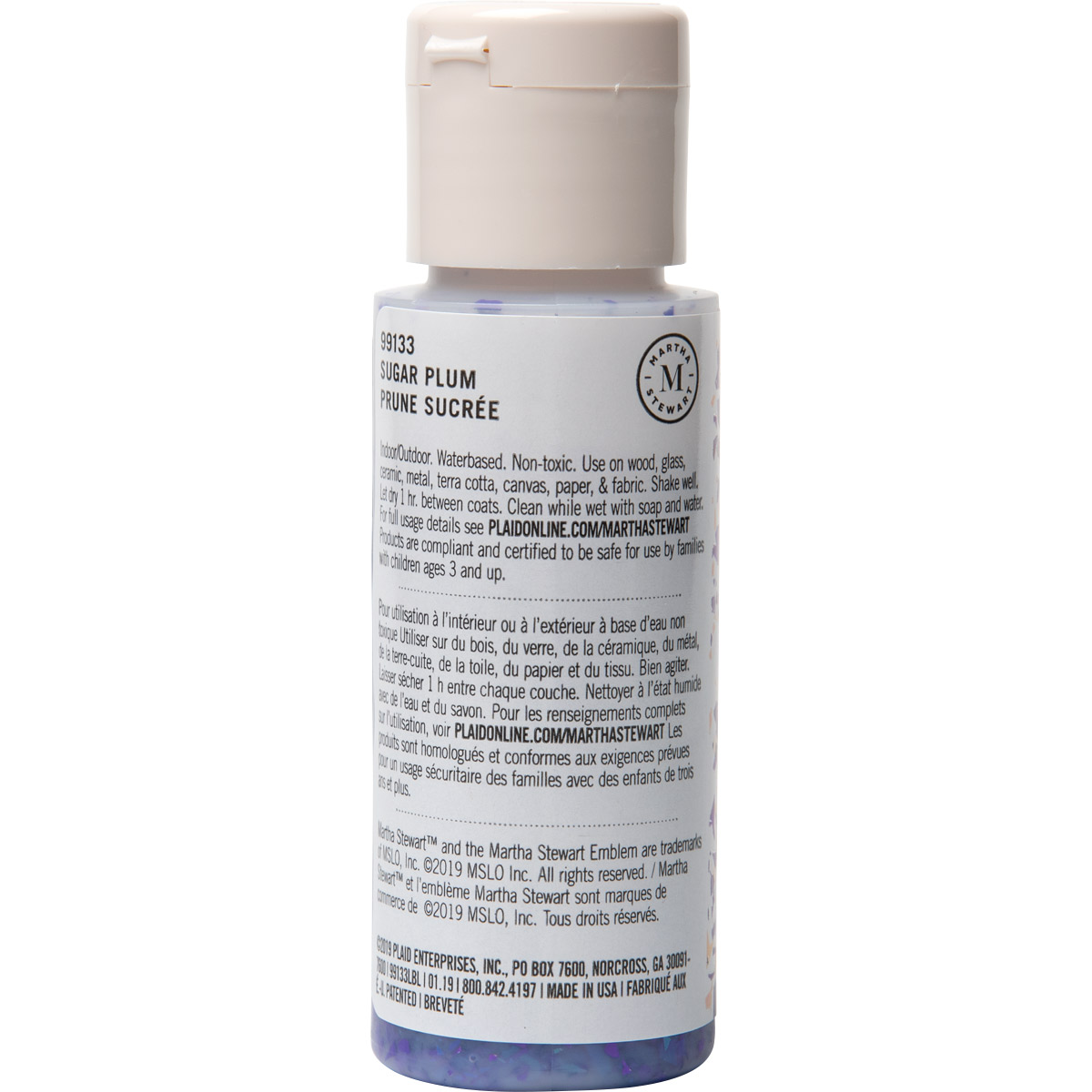 Martha Stewart ® Multi-Surface Vintage Leaf Glitter Acrylic Craft Paint CPSIA - Sugar Plum, 2 oz. -
