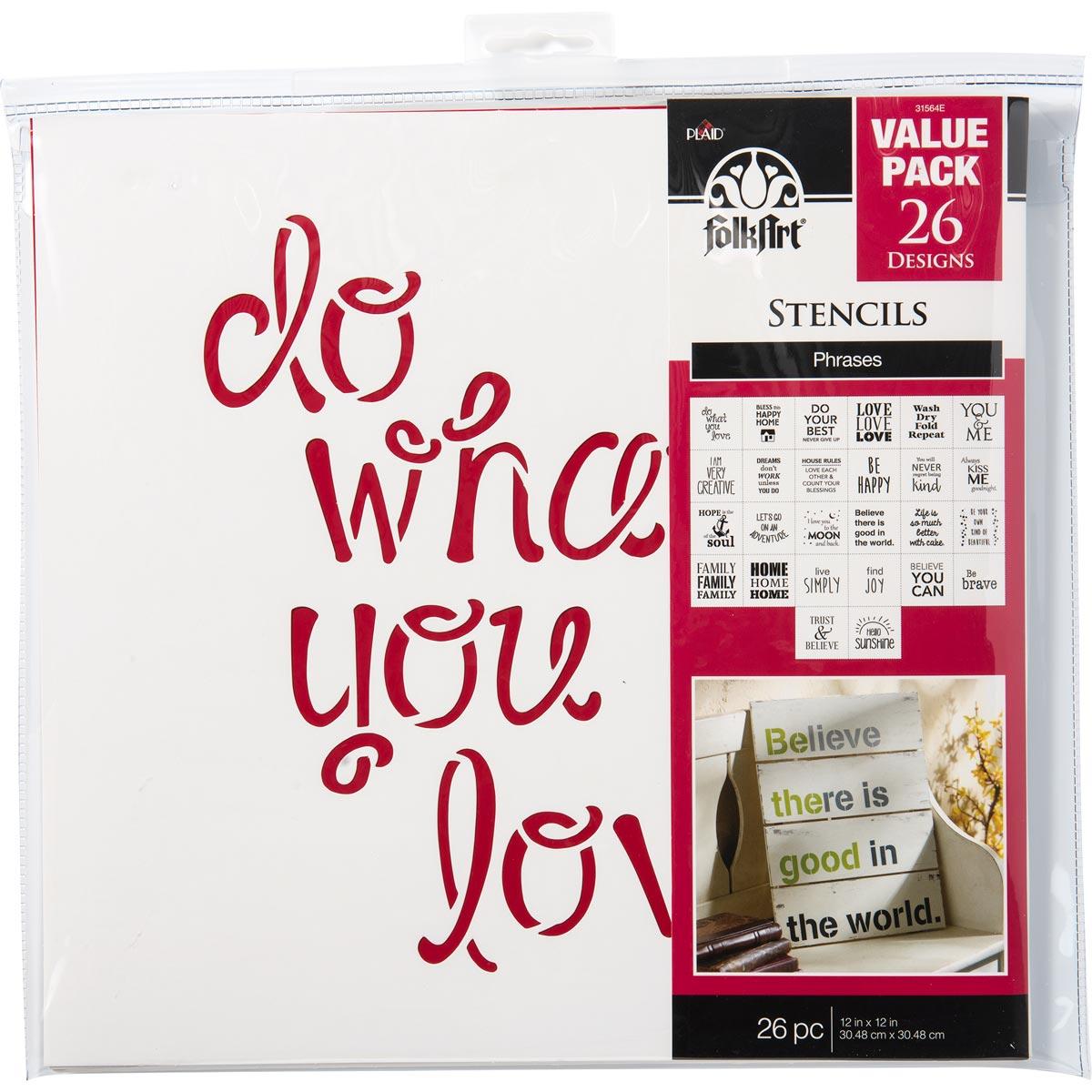 FolkArt ® Stencil Value Packs - Phrases, 12
