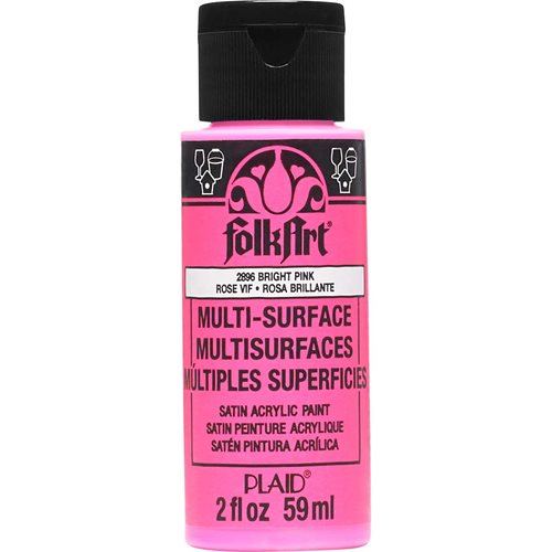 FolkArt ® Multi-Surface Satin Acrylic Paints - Bright Pink, 2 oz.