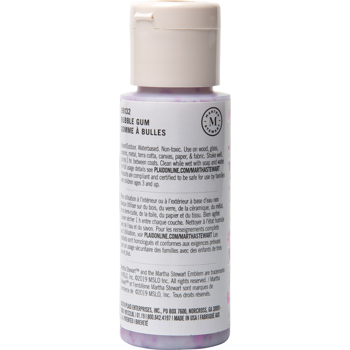 Martha Stewart ® Multi-Surface Vintage Leaf Glitter Acrylic Craft Paint CPSIA - Bubble Gum, 2 oz. -