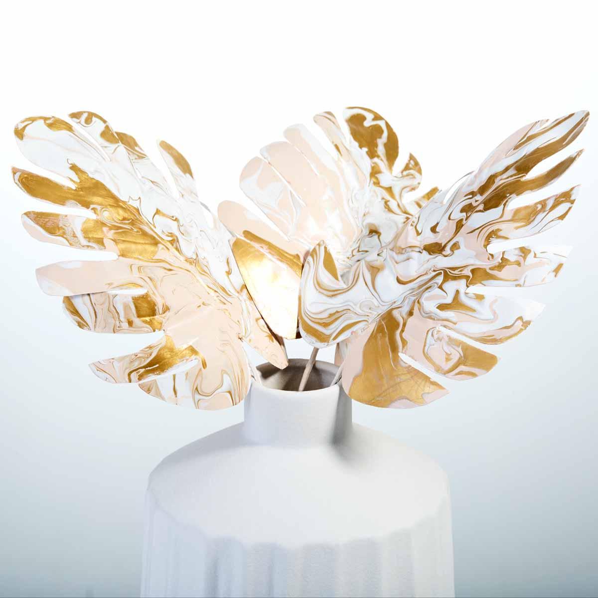 Marbled Leaf Motif DIY Home Decor Accent