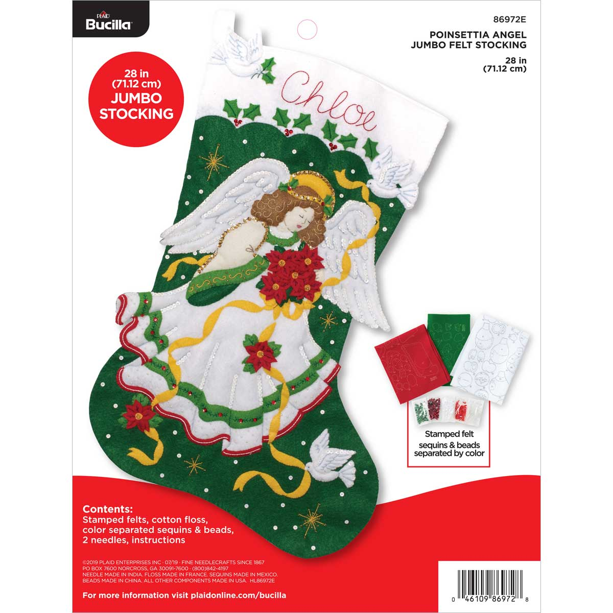 Bucilla ® Seasonal - Felt - Stocking Kits - Poinsettia Angel Jumbo Stocking - 86972E