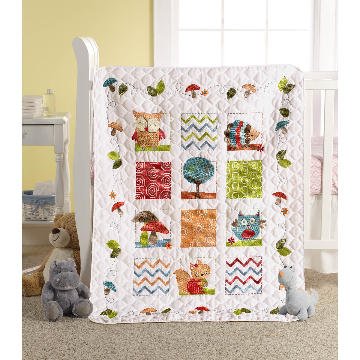 Bucilla ® Baby - Stamped Cross Stitch - Crib Ensembles - Woodland Baby - Crib Cover