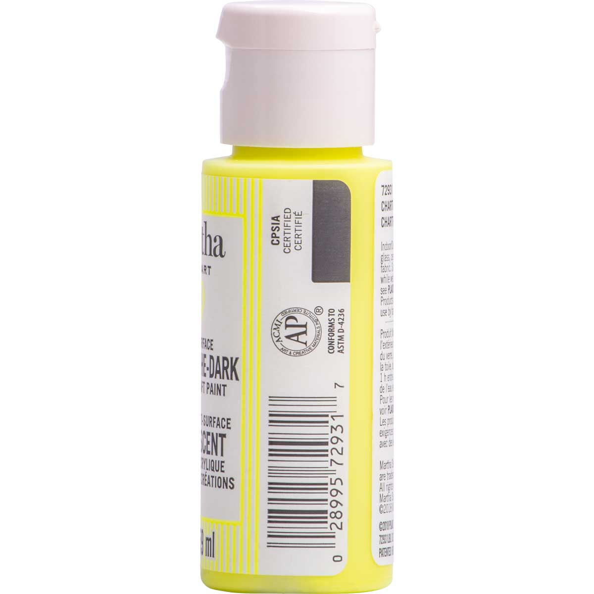 Martha Stewart ® Multi-Surface Glow-in-the-Dark Acrylic Craft Paint CPSIA - Chartreuse, 2 oz. - 7293