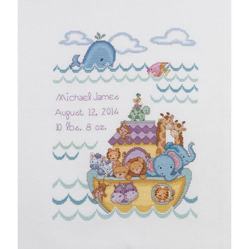 Bucilla ® Baby - Counted Cross Stitch - Crib Ensembles - Noah's Ark - Birth Record Kit