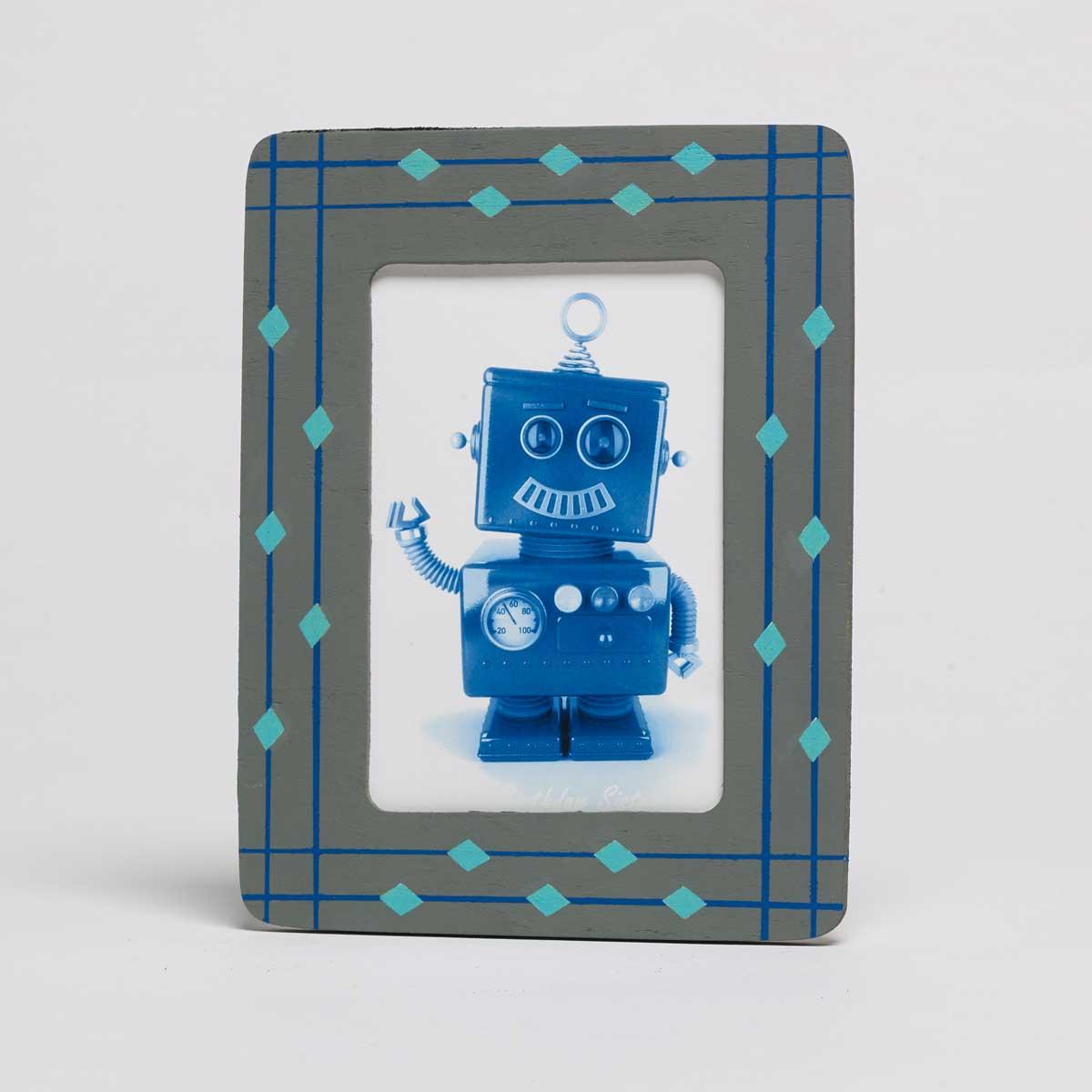 Grey & Blue Rectangle Frame
