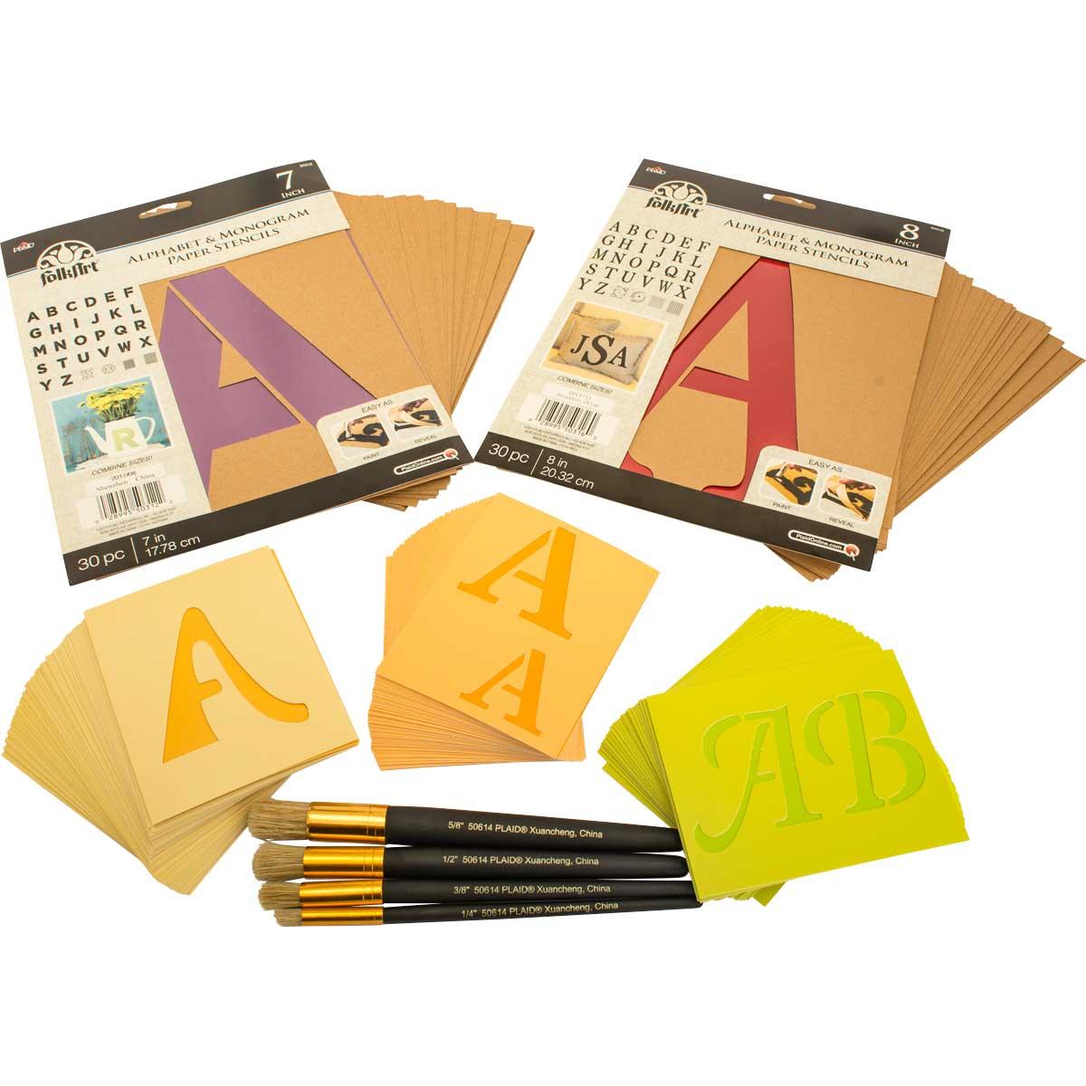 FolkArt ® Ultimate Paper Alphabet Stencil and Brush Kit - PROMOFAPAB