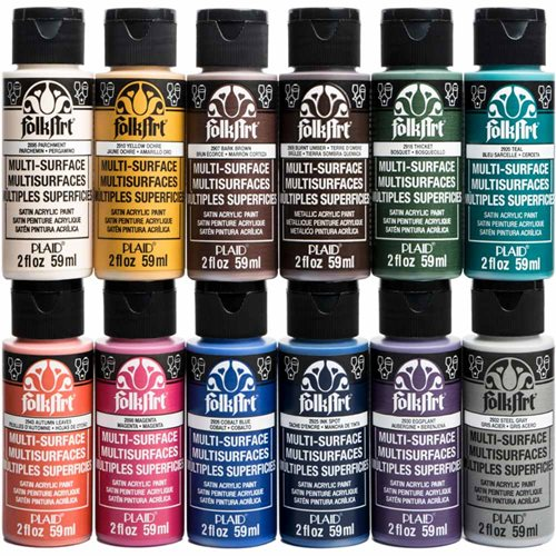FolkArt ® Multi-Surface Satin Acrylic Paint 12 Color Set - Kit 2