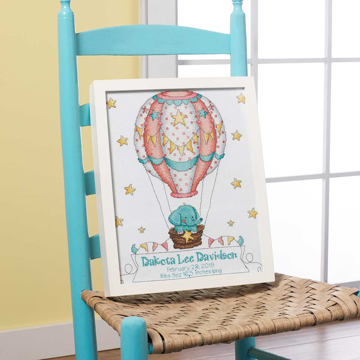 Bucilla ® Baby - Counted Cross Stitch - Crib Ensembles - Up Up and Away - Birth Record Kit