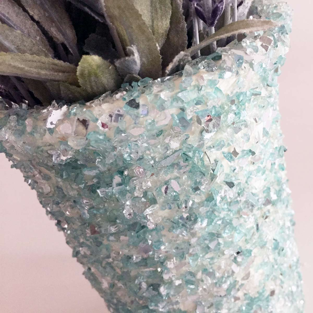 Crushed Glass Clay Pot