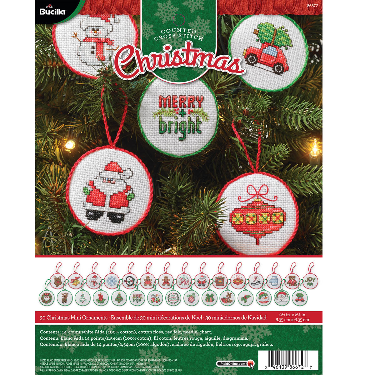 Bucilla ® Seasonal - Counted Cross Stitch - Ornament Kits - Christmas Minis - 86672