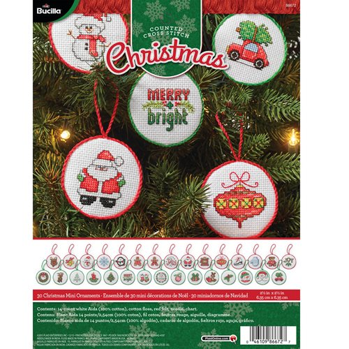 Bucilla ® Seasonal - Counted Cross Stitch - Ornament Kits - Christmas Minis
