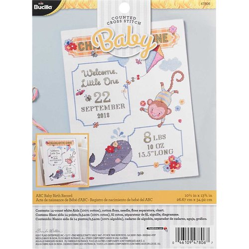Bucilla ® Baby - Counted Cross Stitch - Crib Ensembles - ABC Baby - Birth Record Kit