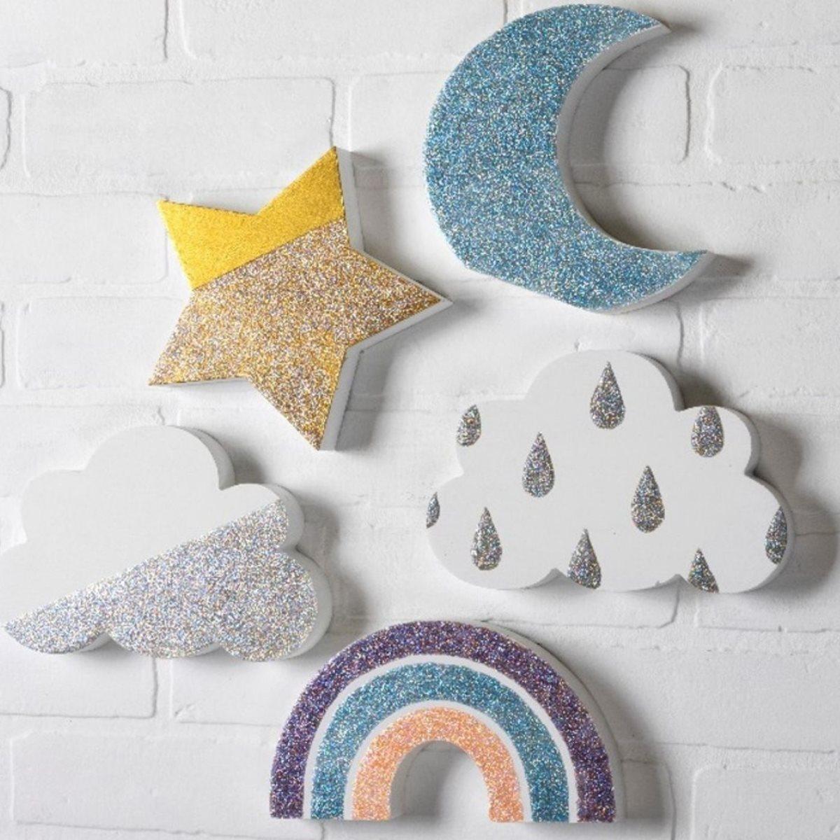 FolkArt Glitterific Fine Star, Moon, and Clouds