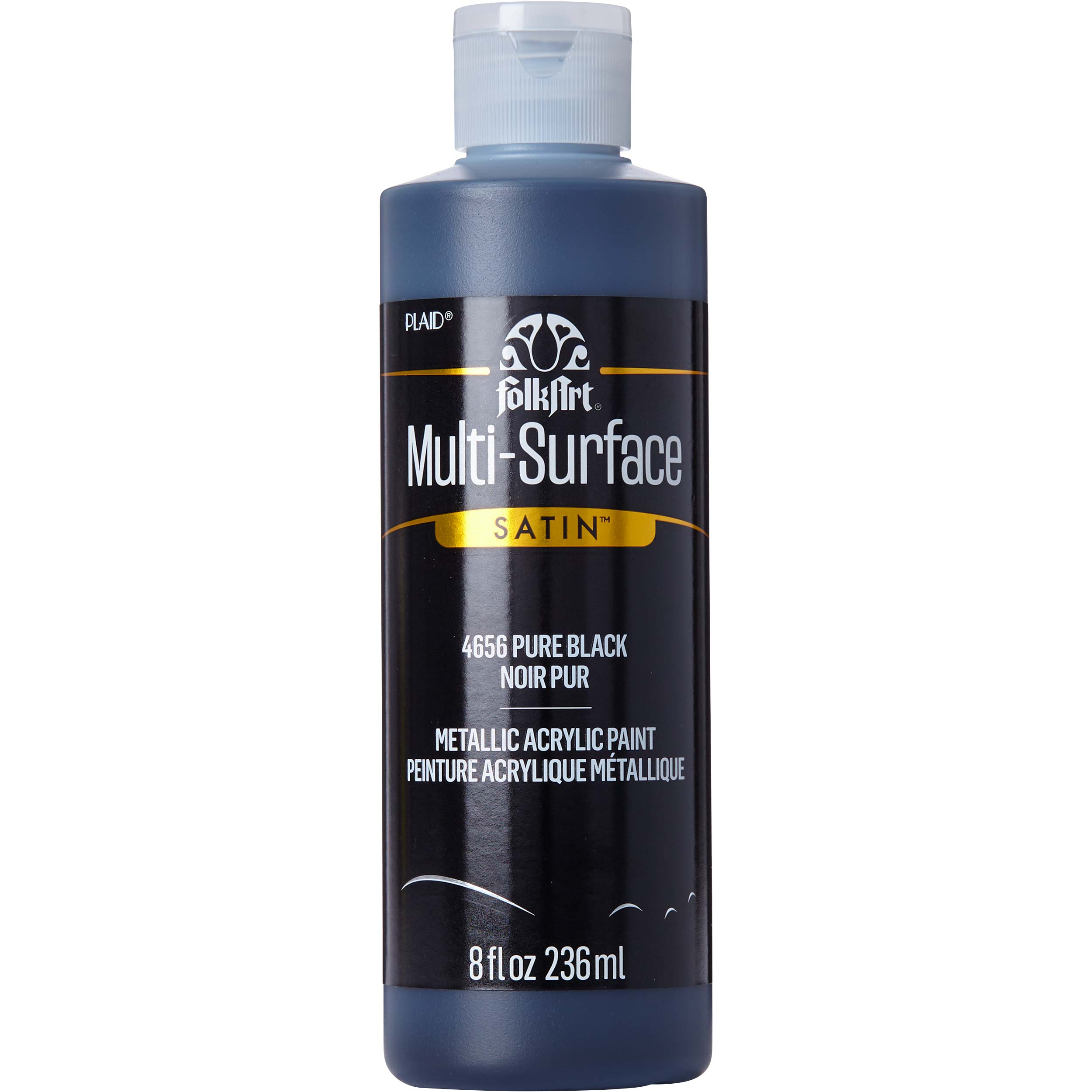 FolkArt ® Multi-Surface Satin Acrylic Paints - Pure Black, 8 oz.