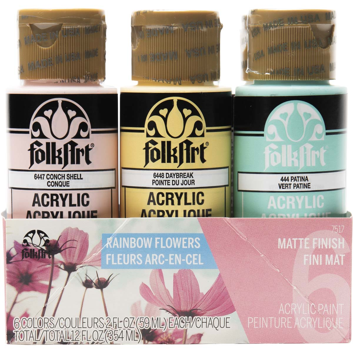 FolkArt ® Acrylic Colors Paint Set 6 Color - Rainbow Flower - 7517