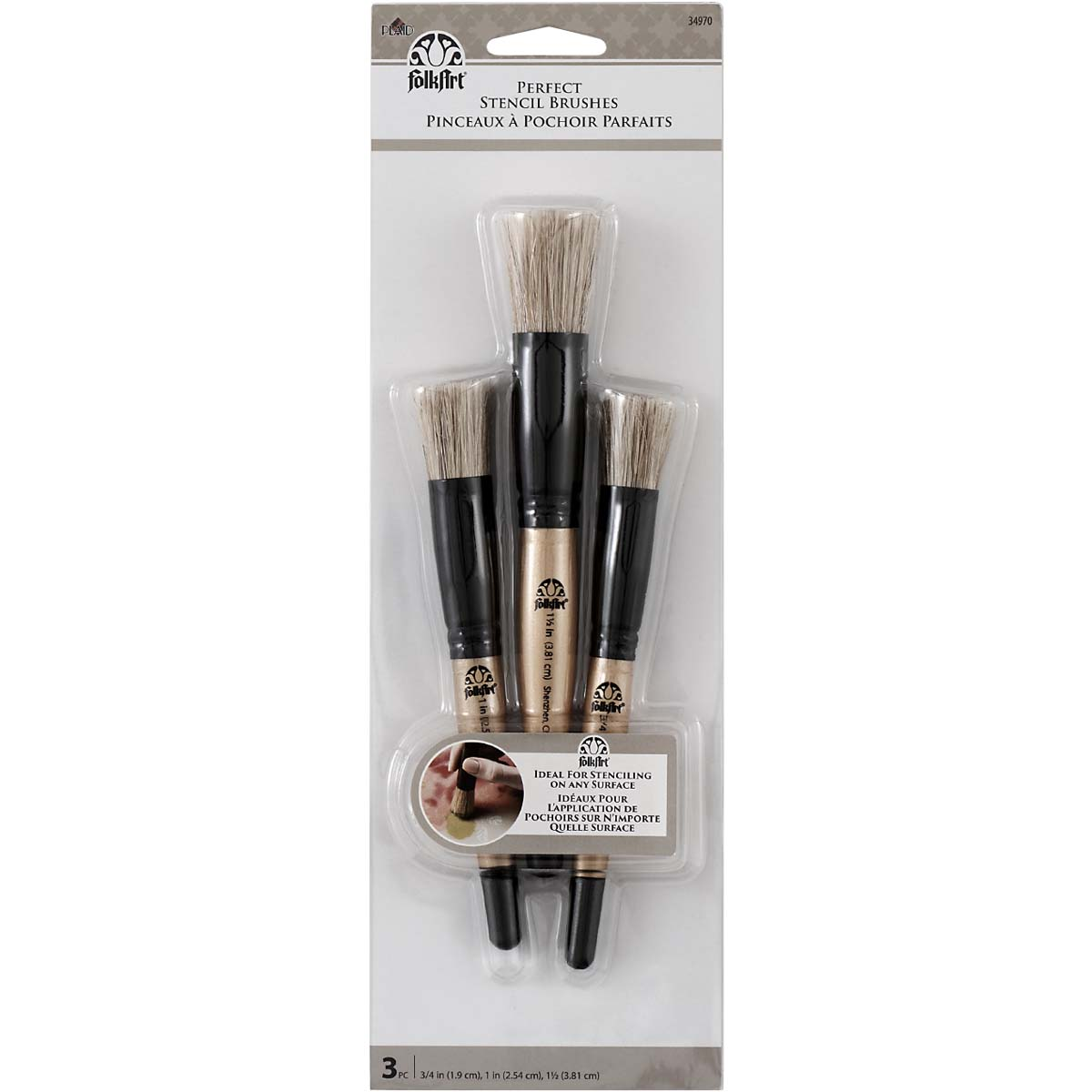 Folkart ® Brush Sets - Perfect Stencil Brush Set, 3 pc. - 34970