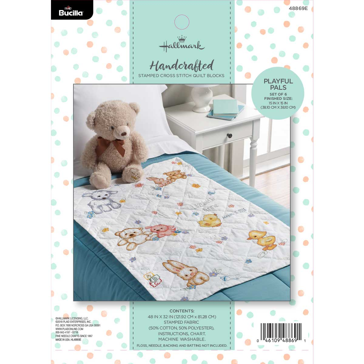 Bucilla ® Baby - Stamped Cross Stitch - Crib Ensembles - Hallmark - Playful Pals - Quilt Blocks