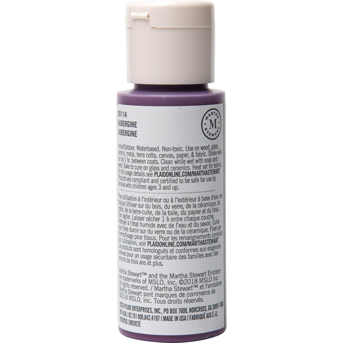 Martha Stewart ® Multi-Surface Satin Acrylic Craft Paint CPSIA - Aubergine, 2 oz. - 99114